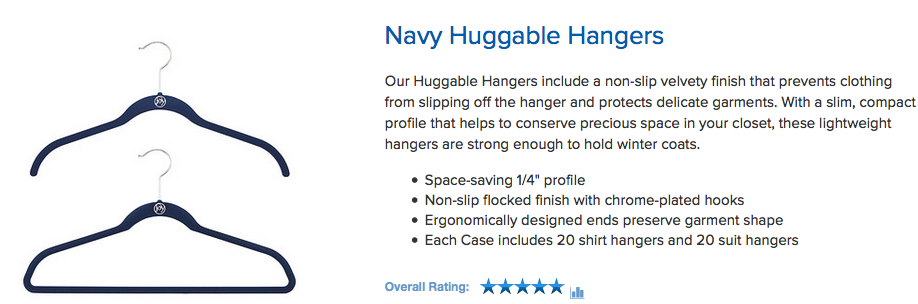 Calm Order recommends these hangers to maximize space and prevent clothes from falling off.
