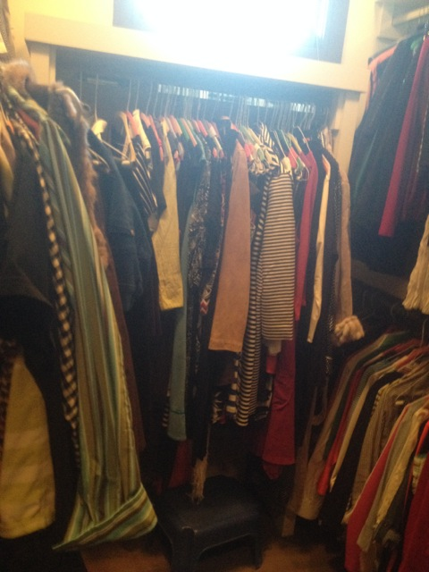A master bedroom closet before Calm Order...