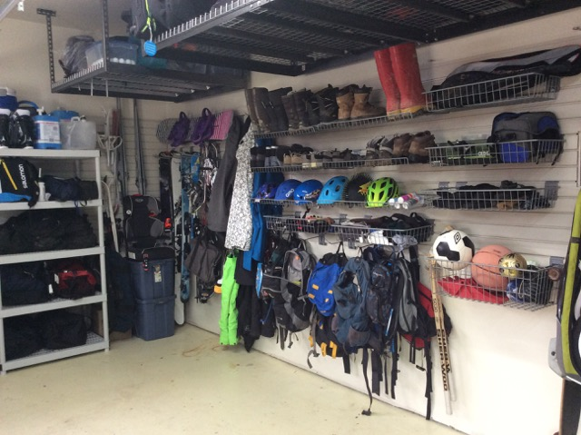 After image of a garage Calm Order organized using wall panels.