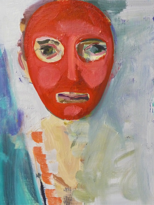 Self-portrait with red mask, 2013