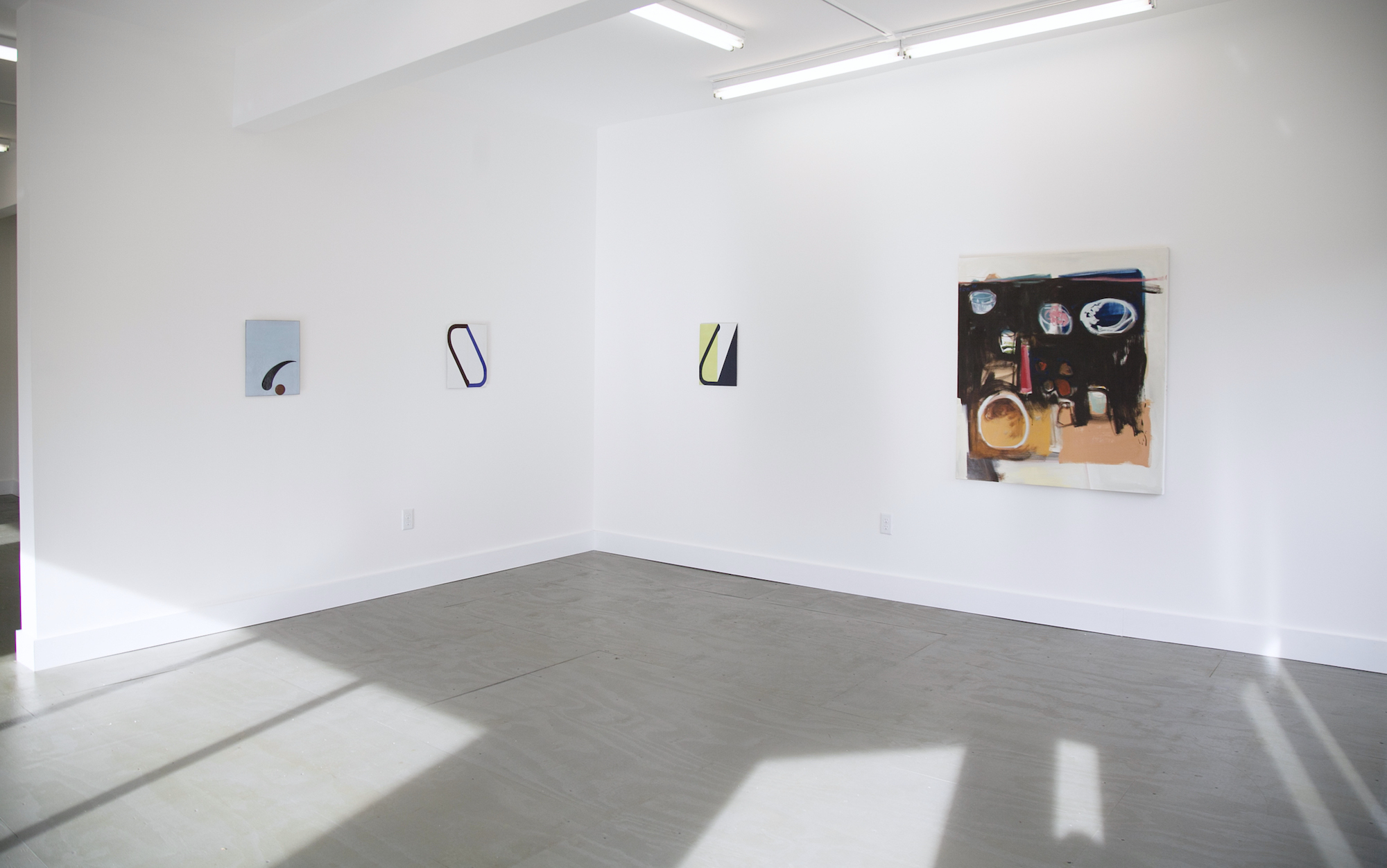 Work by Ulrike Müller (3 at left) and Emi Winter (right)