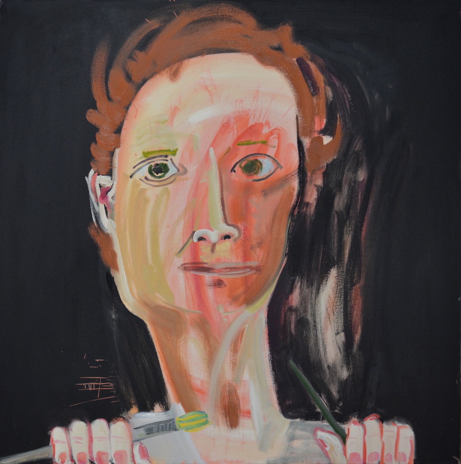 Self portrait with brushes, 2014
