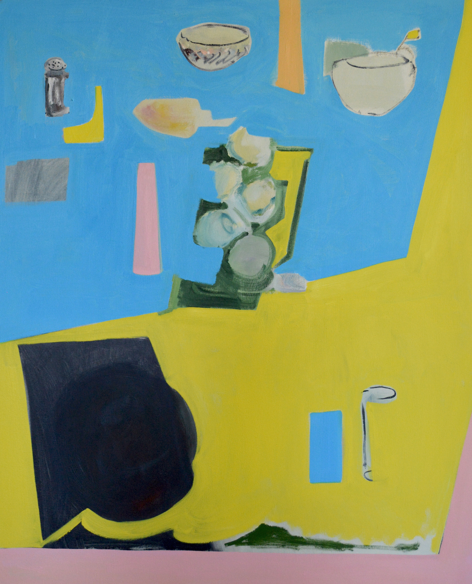Blue, yellow and pink still life, 2016