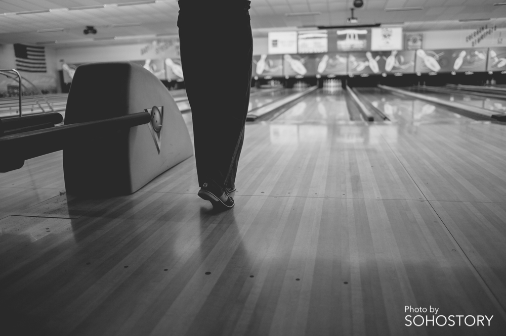 My mom likes doing everything perfect. Even setting up to bowl correctly.