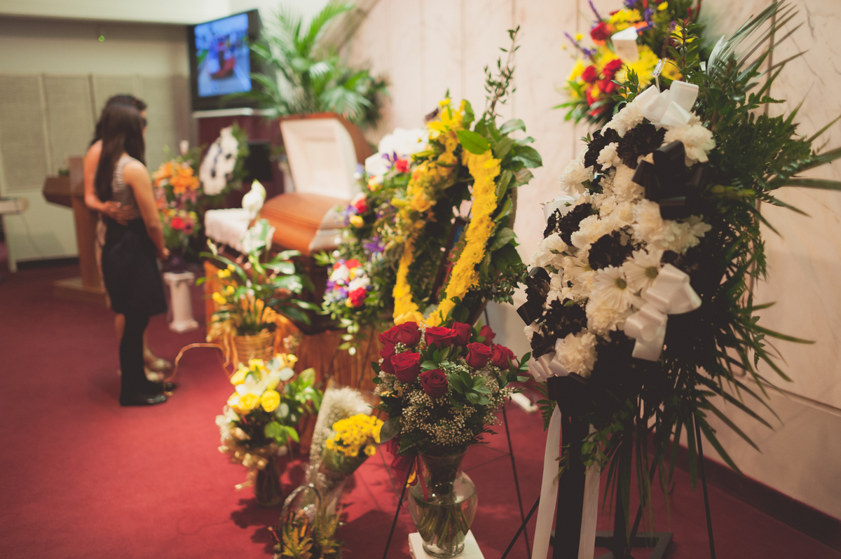 All the flowers were donated by friends and family.