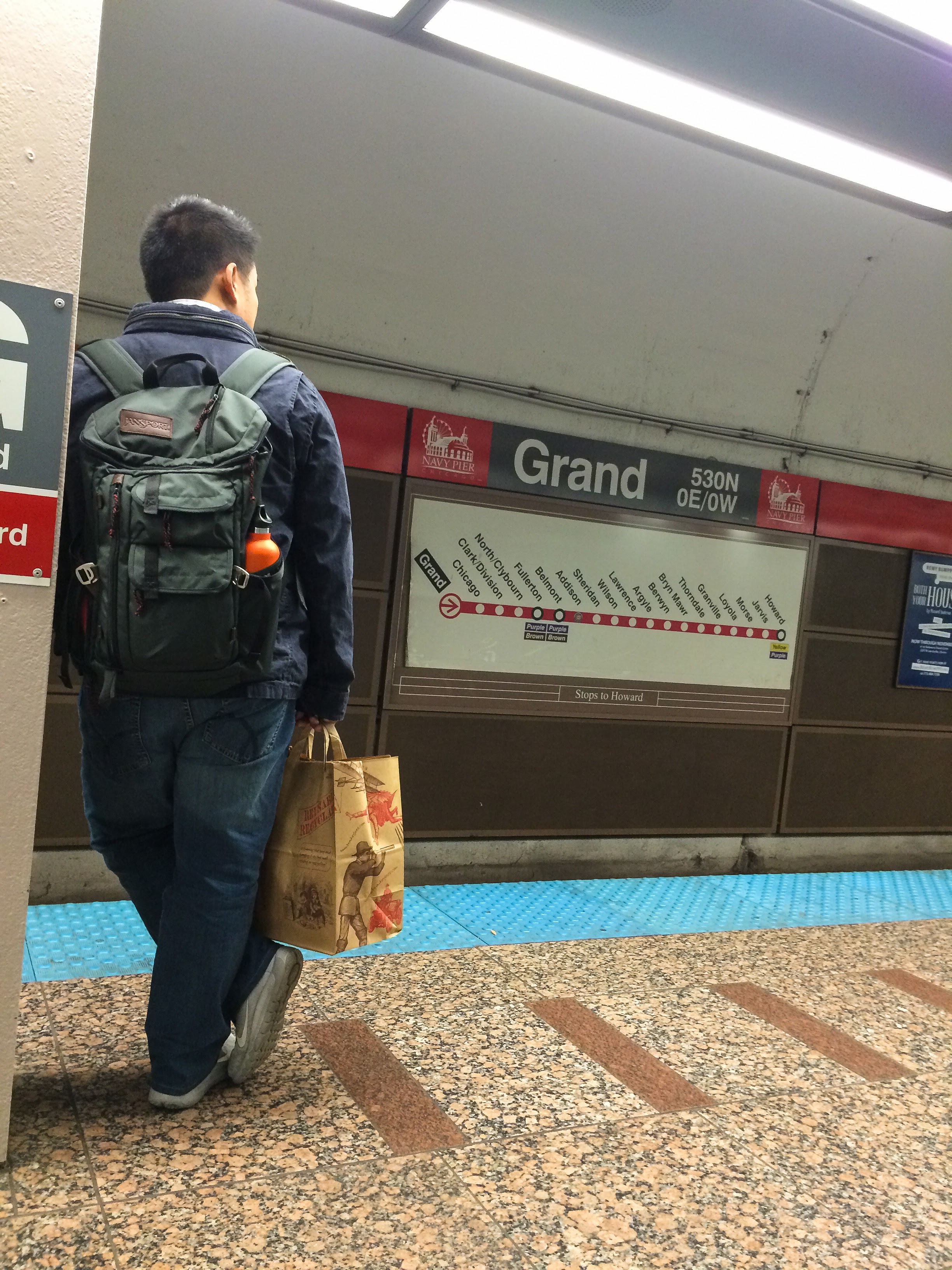 Carrying around my gear in my Jansport Watchtower Backpack while scooting around Chicago.