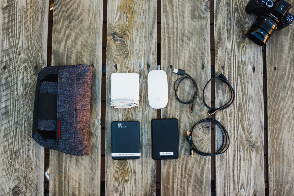 Inside of the  Field Pouch , Apple MagSafe Charger, Apple Magic Mouse, 2 external hard drives, and cables.