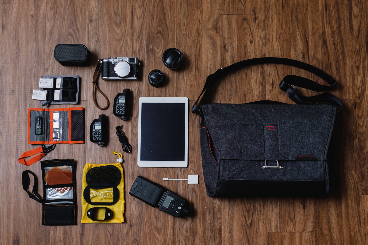 """Ultimate setup """"I wish I can shoot with only this bag"""" - My wishful thoughts of one day, going to a job only with this kit.  UE Bluetooth Speaker,   Think Tank Photo Battery Holder,  4x Fujifilm NP-95 Batteries,  Think Tank Photo SD Pixel Pocket Rocket  ,  SD Cards,  Fujifilm X100s Camera ,    Fujifilm WCL-X100  &  TCL-X100 Conversion Lense s,  Apple iPad Air, Apple Lighting to SD Card Adapter,2x   PocketWizard Plus III Transceiver, Sync cord, MagMod Gel Kit, MagMod Basic Kit (Grid, Gel Slot, & MagGrip), Lumopro LP-180 Flash,and Apple iPad Air, and   Apple Lighting to USB Cable"""