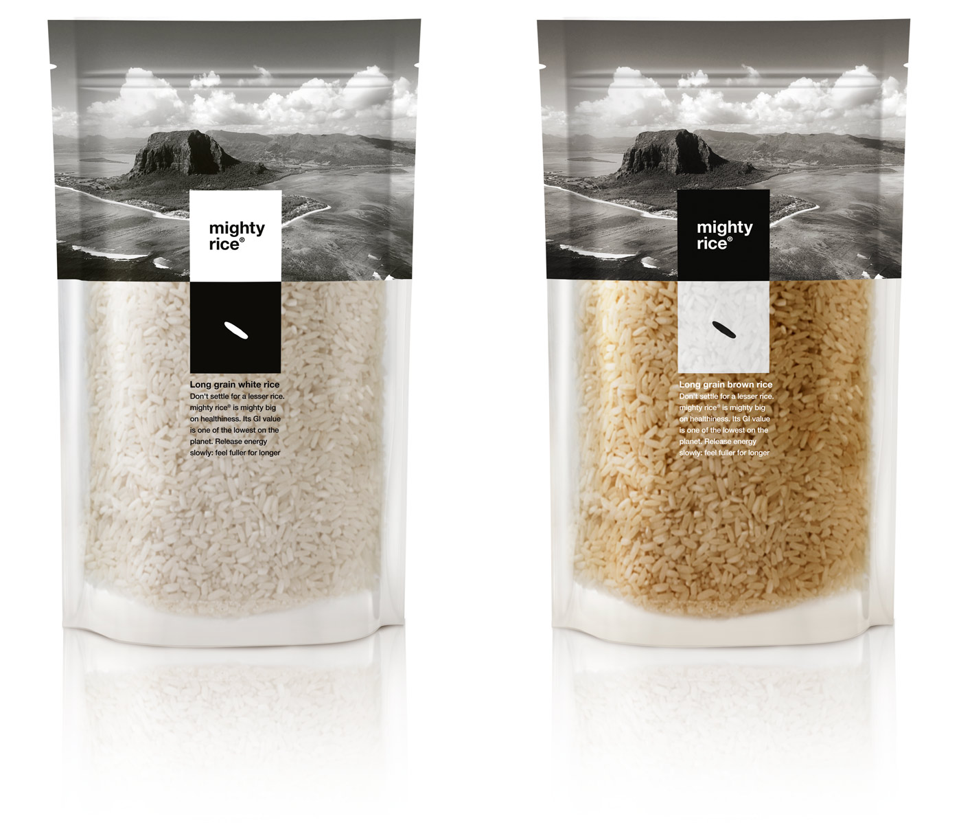 Mighty rice, white and brown
