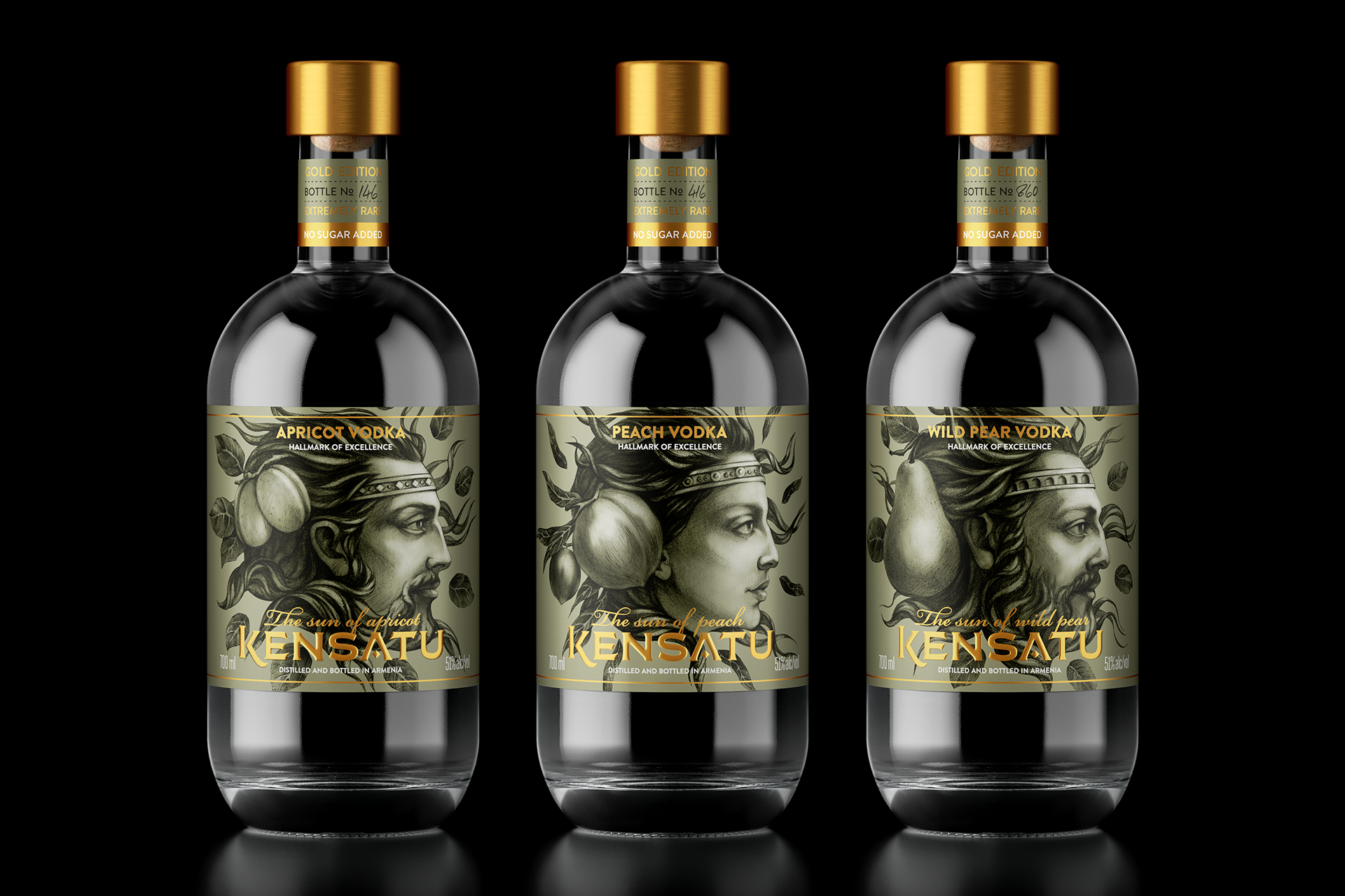 Armenian Premium Vodka Packaging Design with Hand Drawing Characters / World Brand & Packaging Design Society