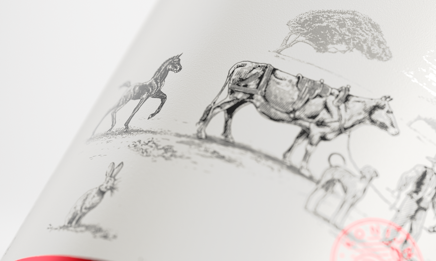 South African Wine Packaging Design with Illustration based on Inhabitants of the 1600's / World Brand & Packaging Design Society