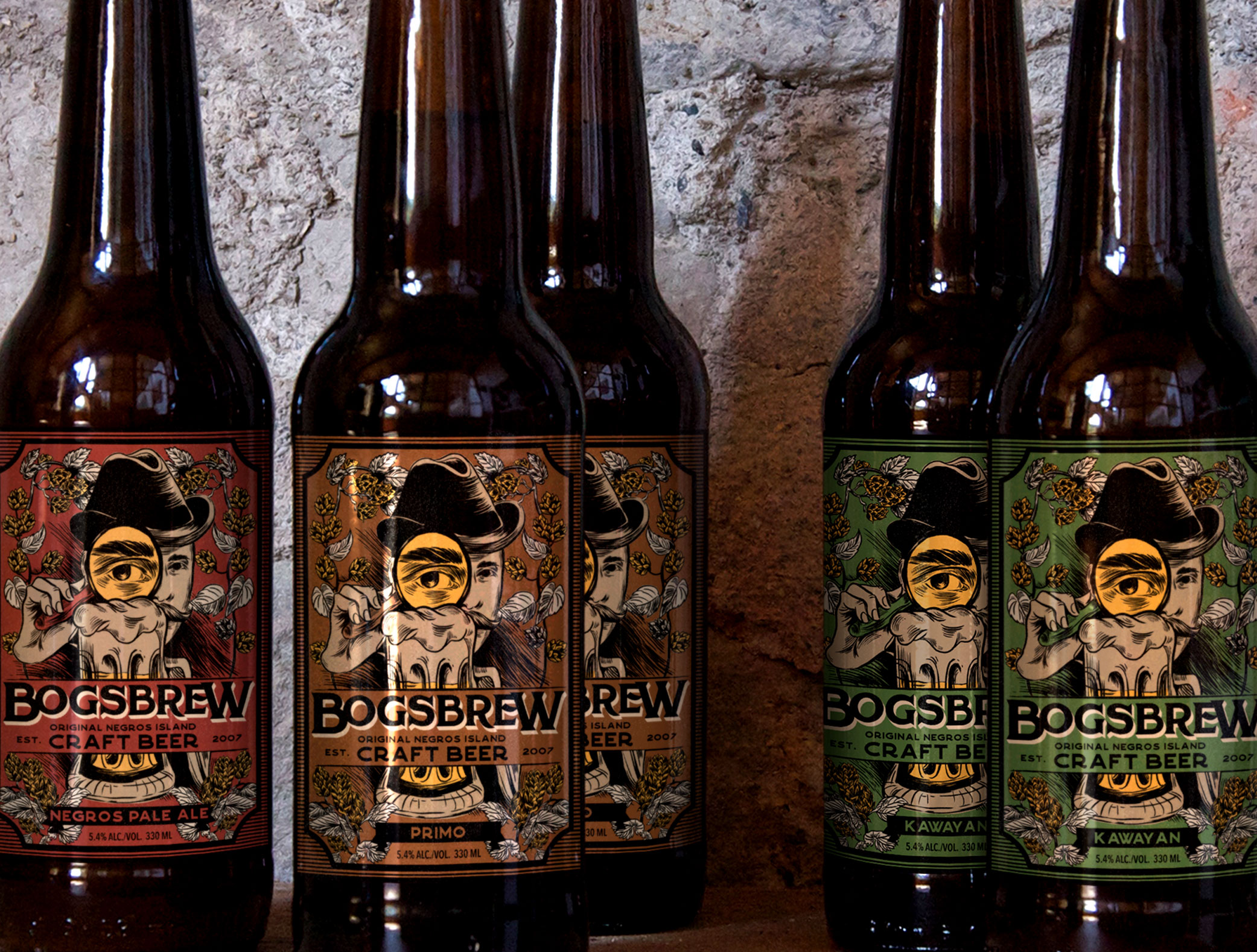 Package Illustration for Bogsbrew Craft Beer from the Philippines / World Brand Design Society