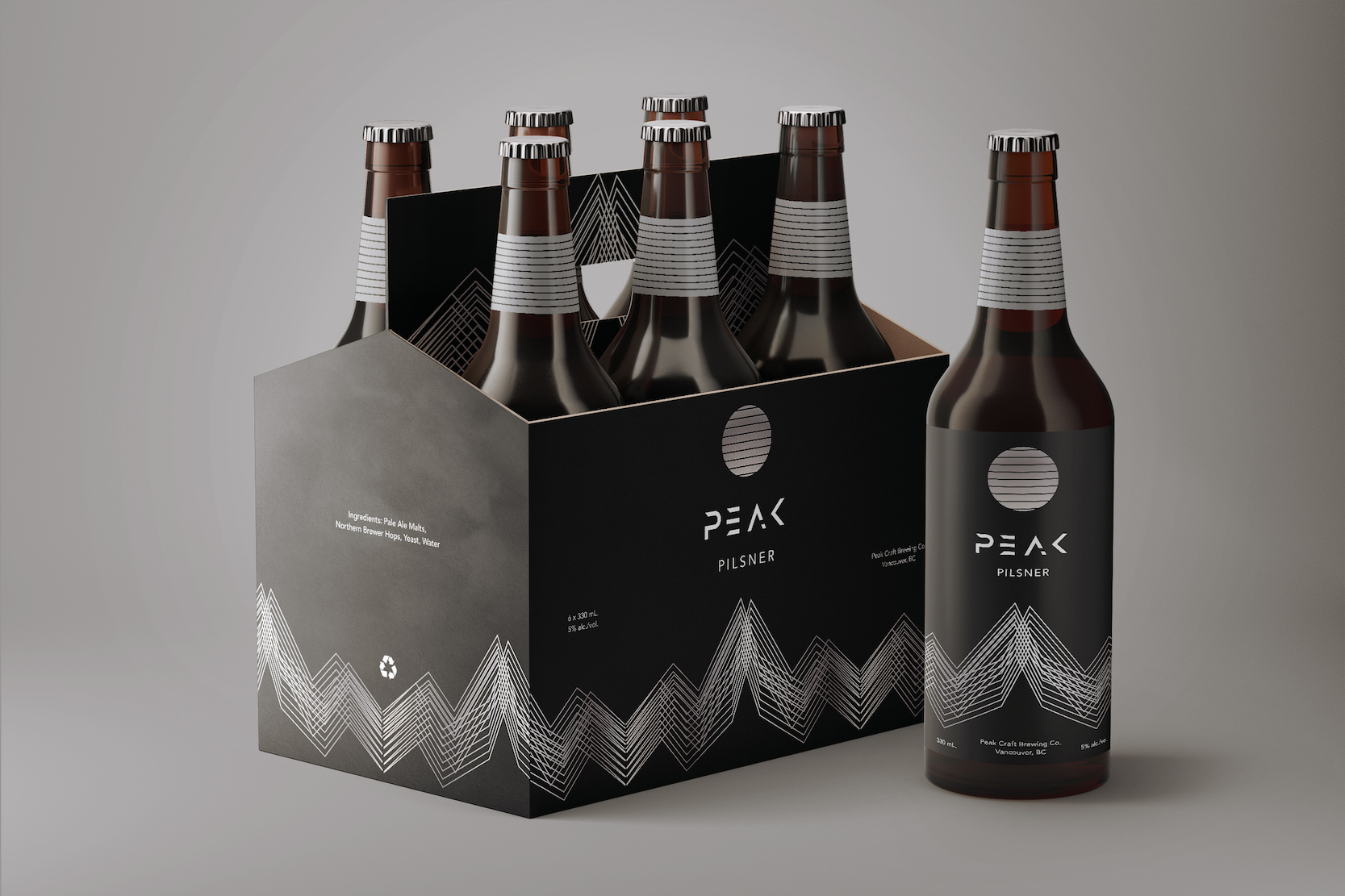 """Geometrical Packaging Design for a Conceptual Craft Beer Brand, """"Peak"""" / World Brand Design Society"""