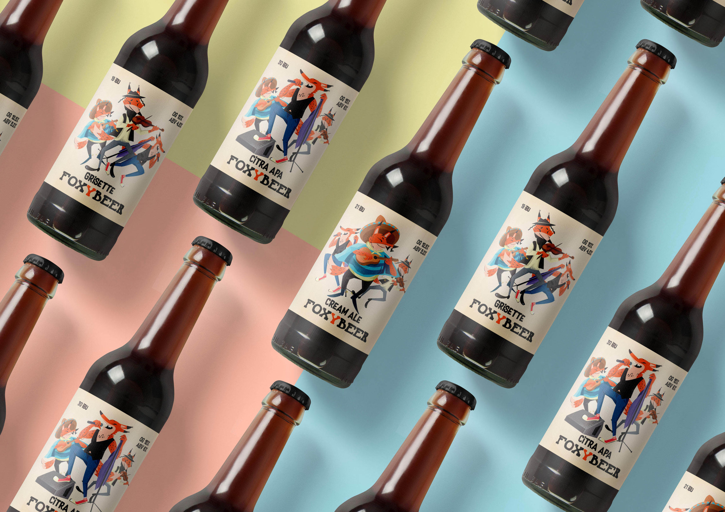 Illustration Creation and Labels Design for Craft Beer Foxybeer / World Brand Design Society