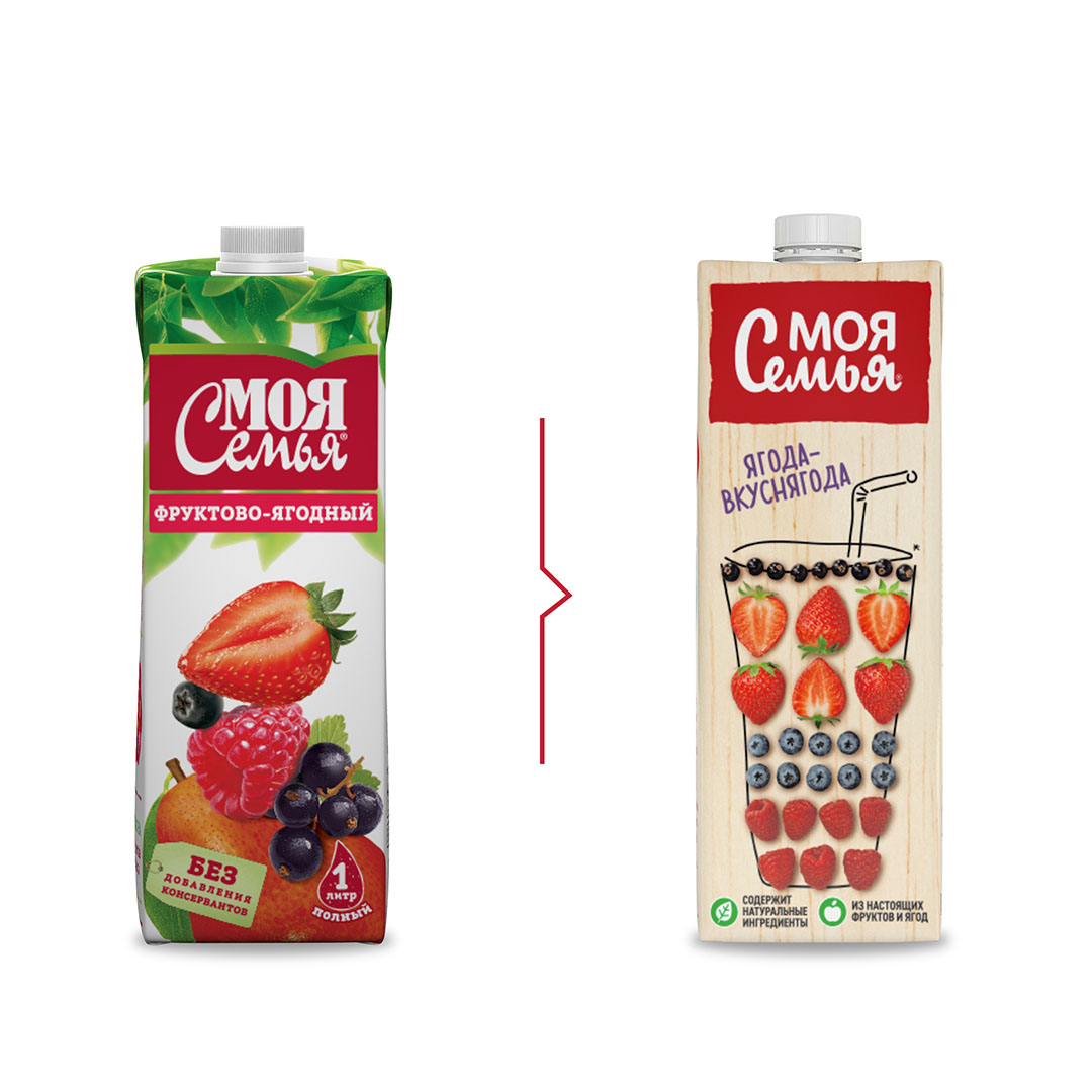 Rebranding and Packaging Design for Moya Semya Juices, Multon, Russia / World Brand Design Society