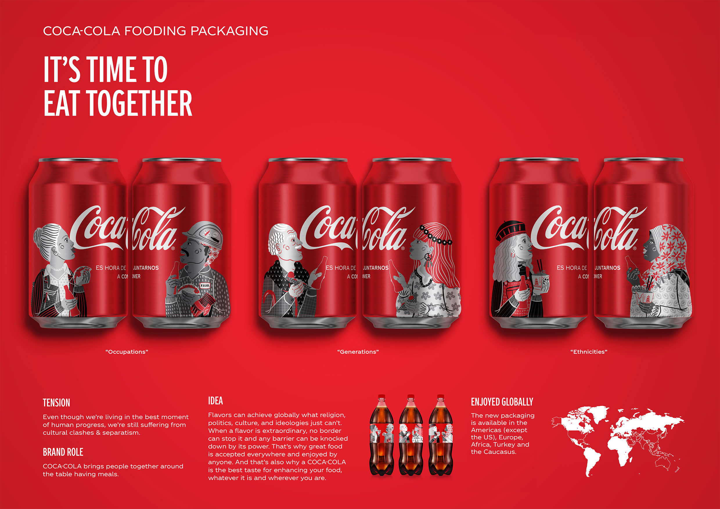 """Geometry Creates Global Packaging for the Campaign """"It's Time to Eat Together"""" for Coca-Cola / World Brand Design Society"""