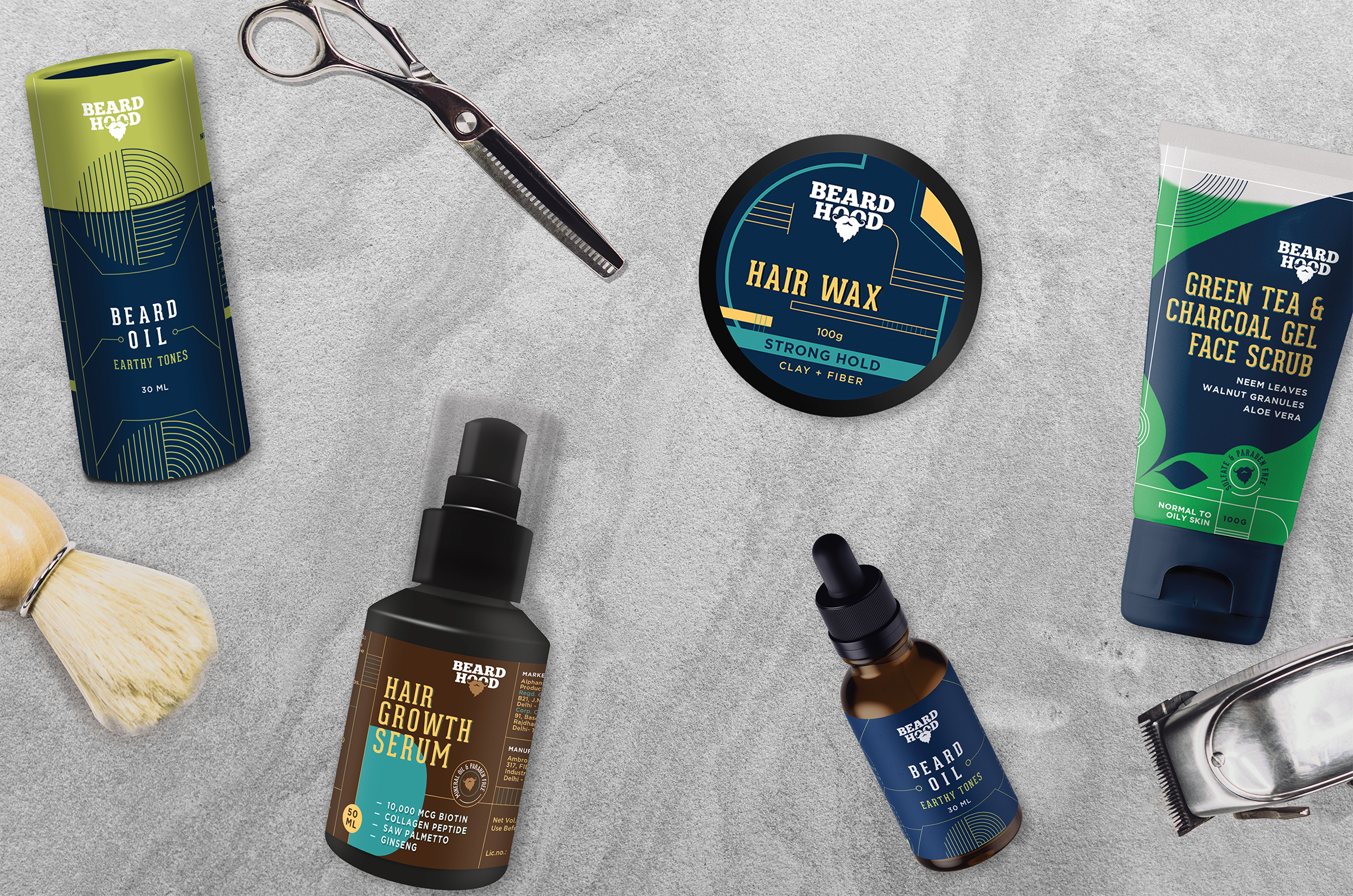 Packaging Design for Beard Hood, a Men's Personal Care Brand