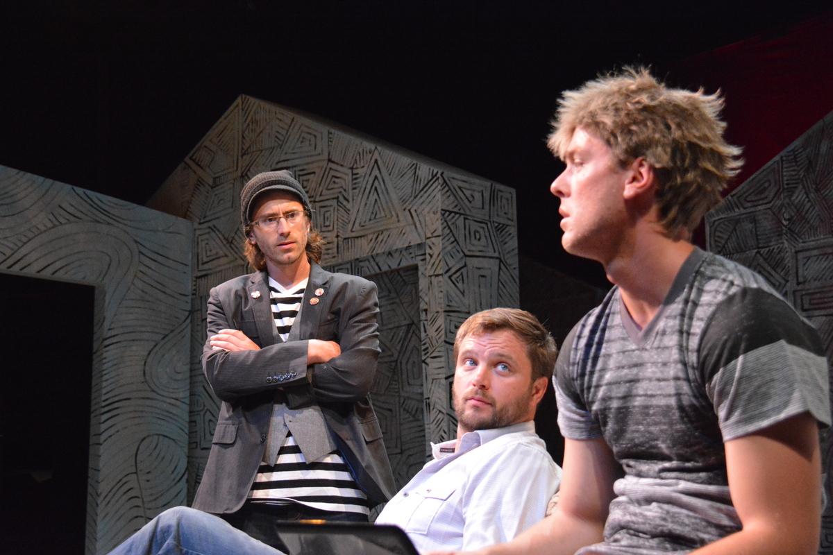 Paul (Harold Pierce), Gareth (Lasse Christiansen), and Gunter (Carl Holvick-Thomas), debate about art. Clickto download high-res version