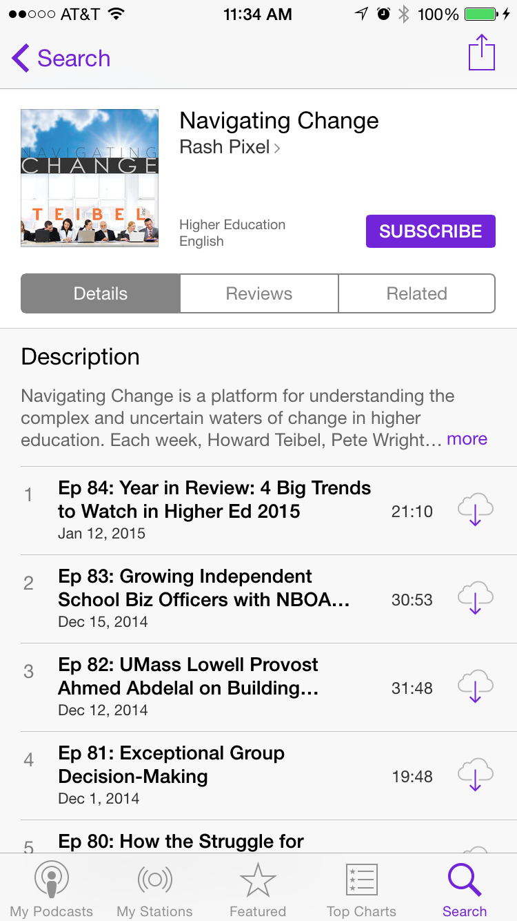 Here's what Navigating Change looks like in the iOS Podcast app.