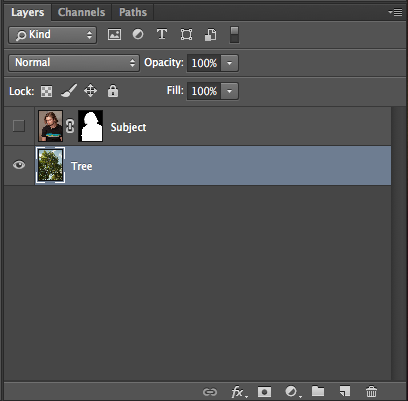 Your layers panel will appear like this: