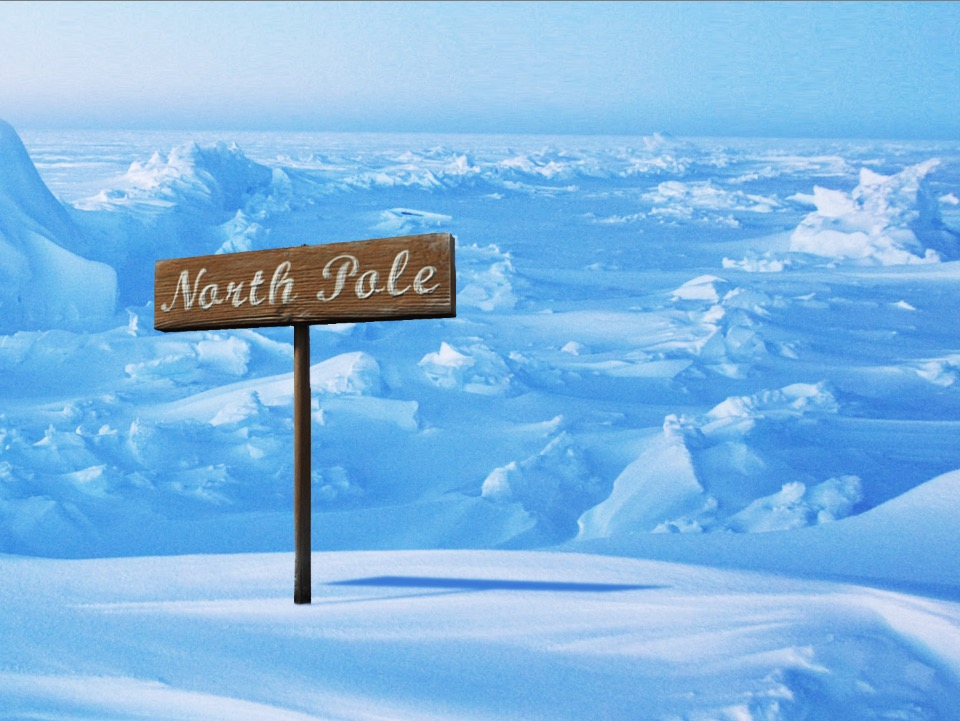 This north pole sign has been cut out and masked.  I  've created a shadow for the sign as well that I will cover in another post.    *Keep in mind that the objects all have to appear to be illuminated by the same global/practice light source. Hint: what direction are the shadows going?