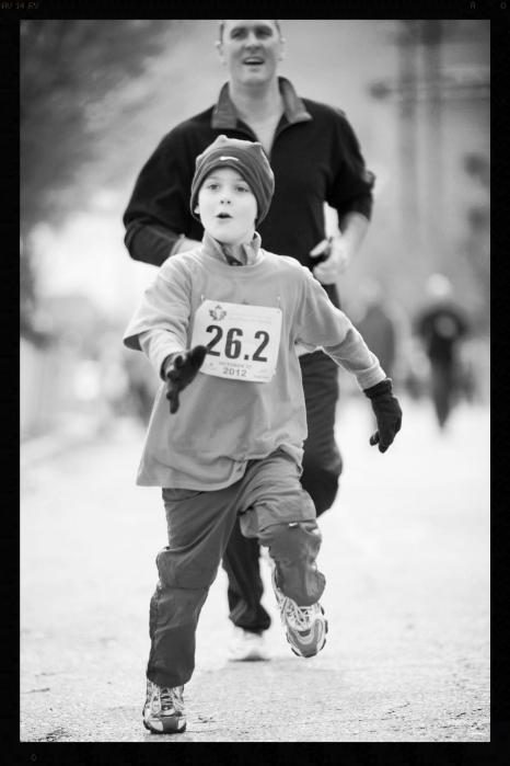 Levi running GR Kids Marathon