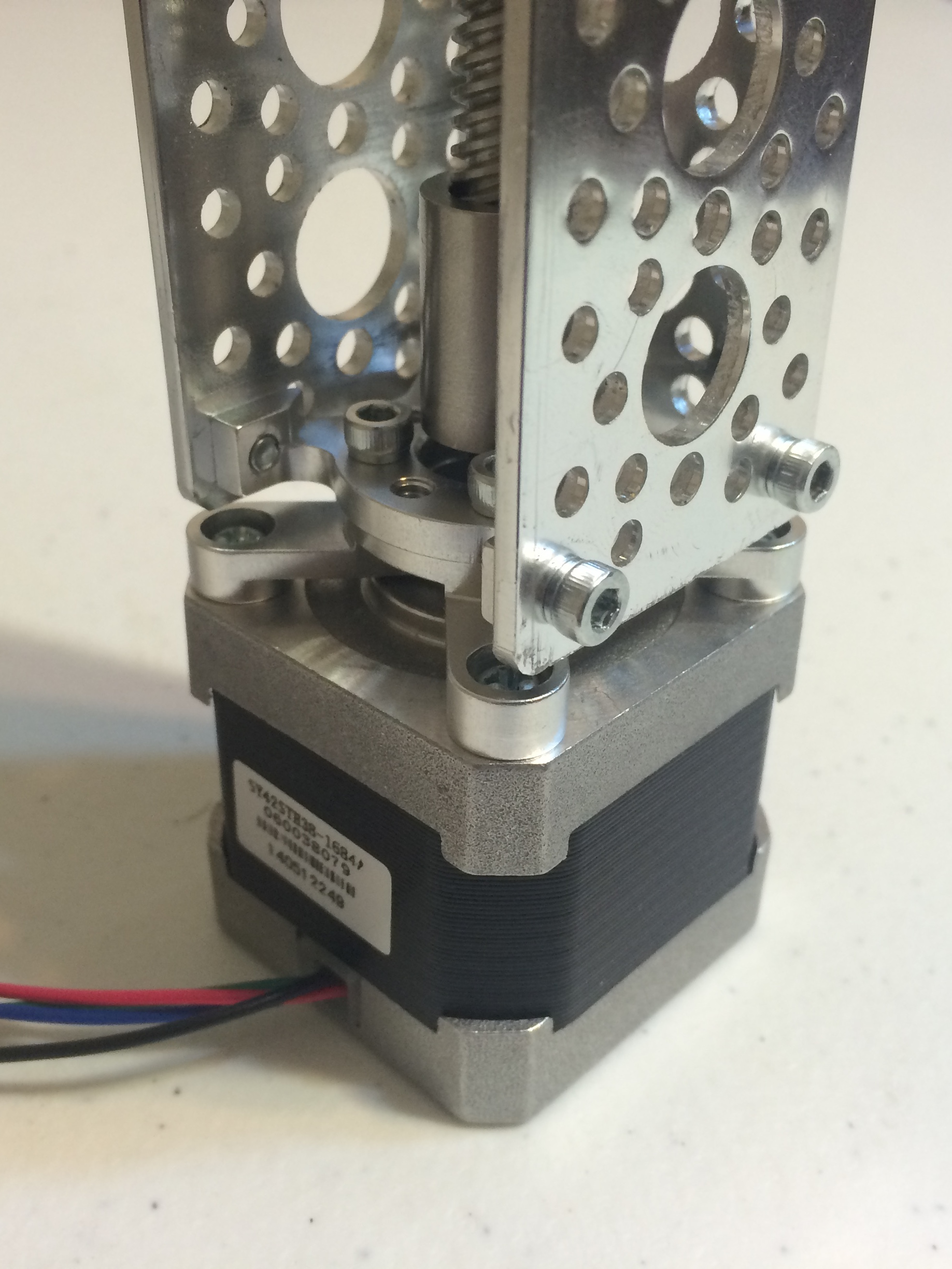 ACTOBOTICS CHANNEL WITH stepper motor assembly. NOTE THE ORIENTATION OF THE side tapped pattern MOUNT and stepper motor assembly.