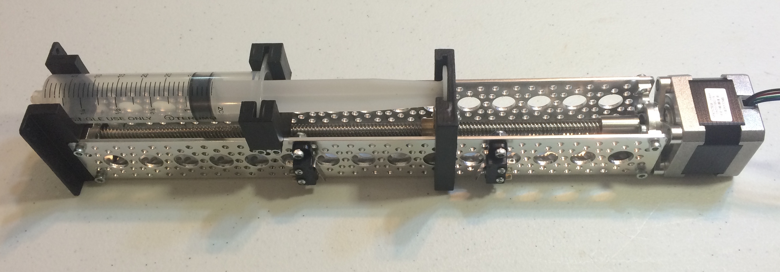 Completed syringe pump mechanical assembly.
