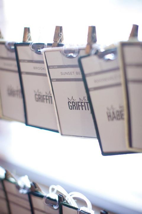 Place Cards // The Brooklyn Arts Center // Wilmington, NC Wedding // Live Wedding Painter Ben Keys of Wed on Canvas // Photo Courtesy of KMI Photography