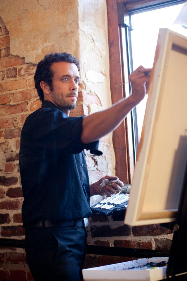 Artist Ben Keys painting live at The Brooklyn Arts center reception of Keeley and Danny. // Wed on Canvas // Photo Courtesy of KMI Photography