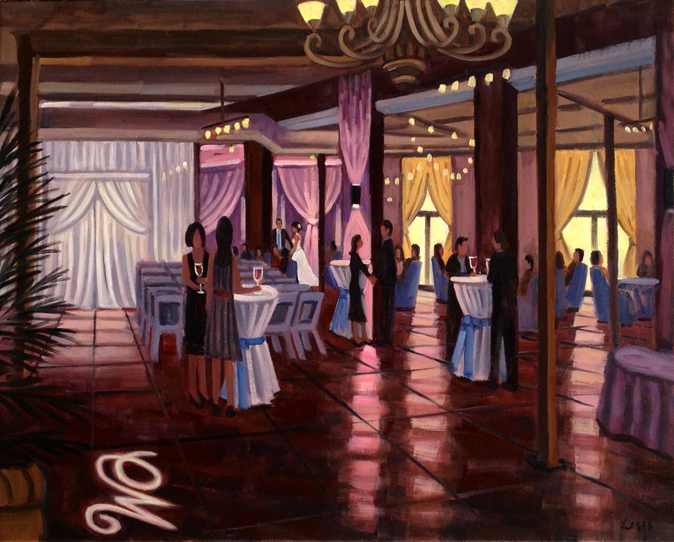 The Mill Event Hall of Chattanooga, Tennessee // Wedding Painting by Ben Keys, Wedding Artist of Wed on Canvas // Faux Wedding Reception Event