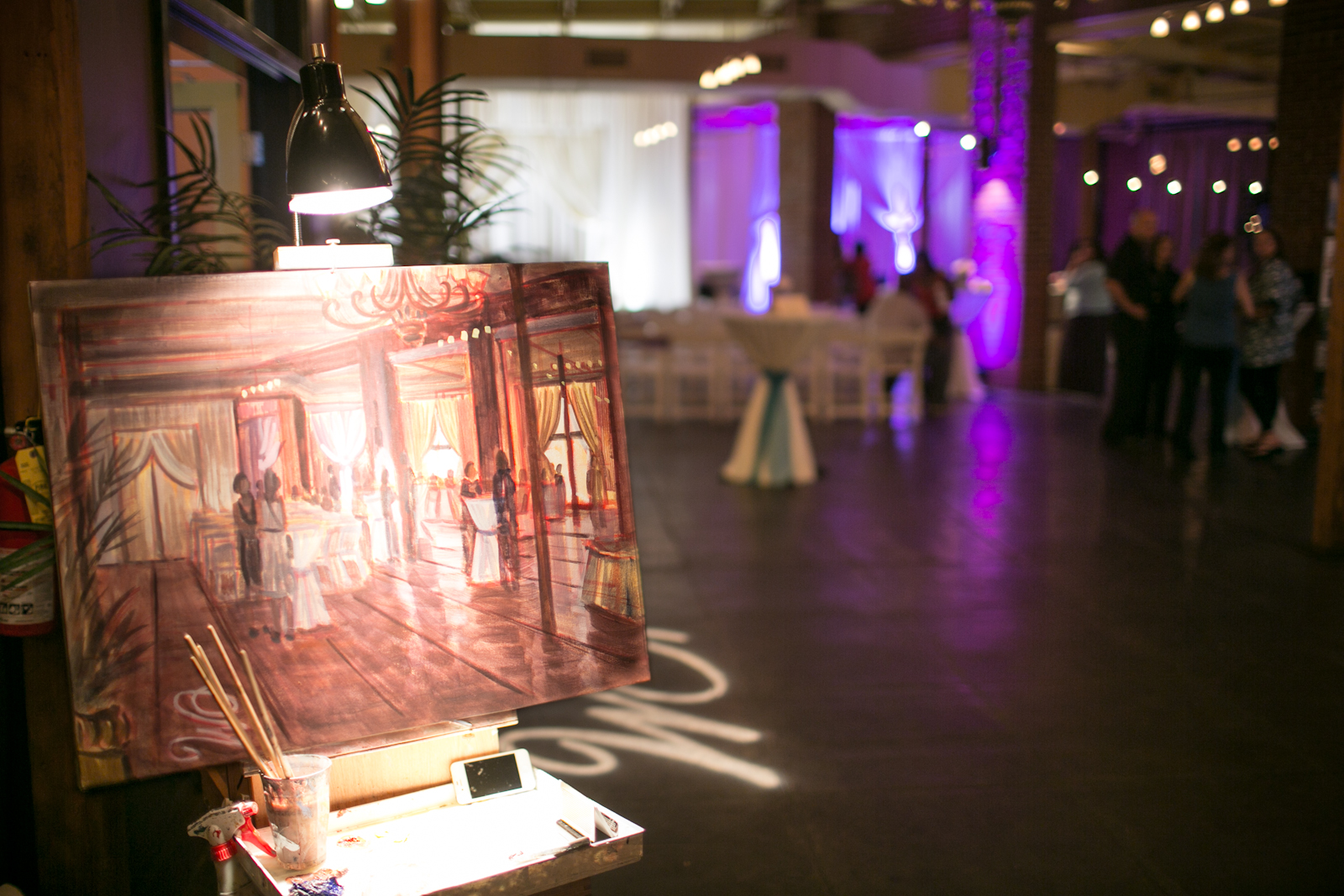 Ben Keys of Wed on Canvas, Live Wedding Artist // Wedding Painting of The Mill Event Hall of Chattanooga, Tennessee // Photo by Imago Photagraphy