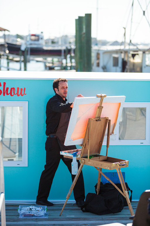 Ben Keys painting live at a Charleston wedding // Wed on Canvas // Photo courtesy of Hunter McRae Photography