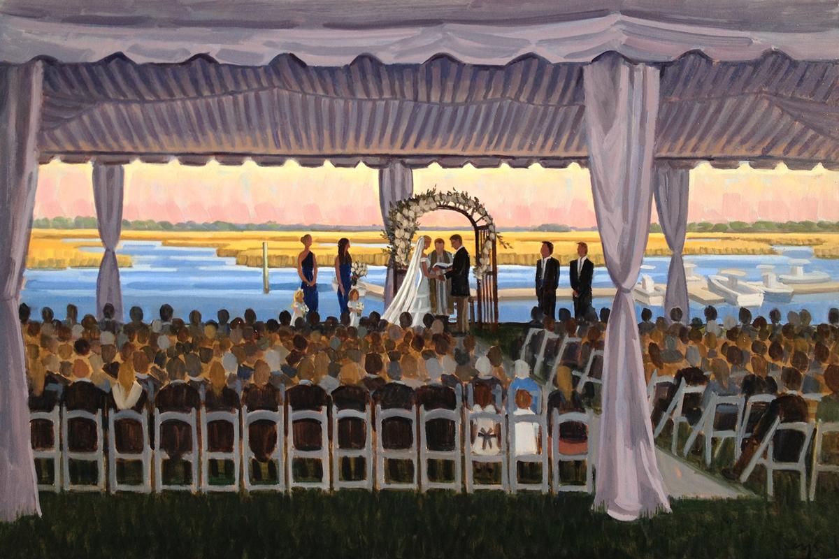 Figure 8 Island Yacht Club | Live Wedding Painting