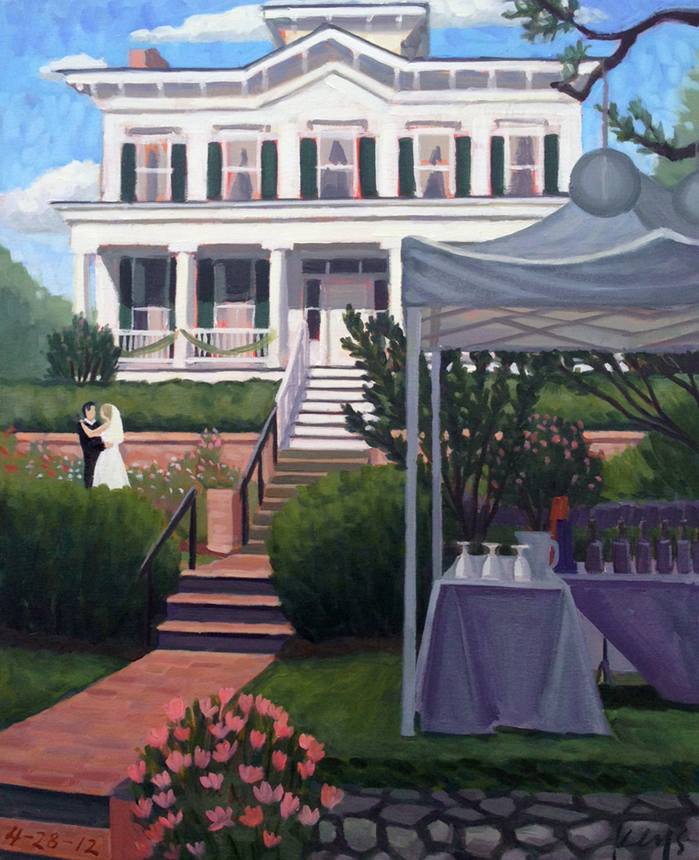 City-club-wilmington-wedding-painting-by-ben-keys-wedding-artist-of-wed-on-canvas