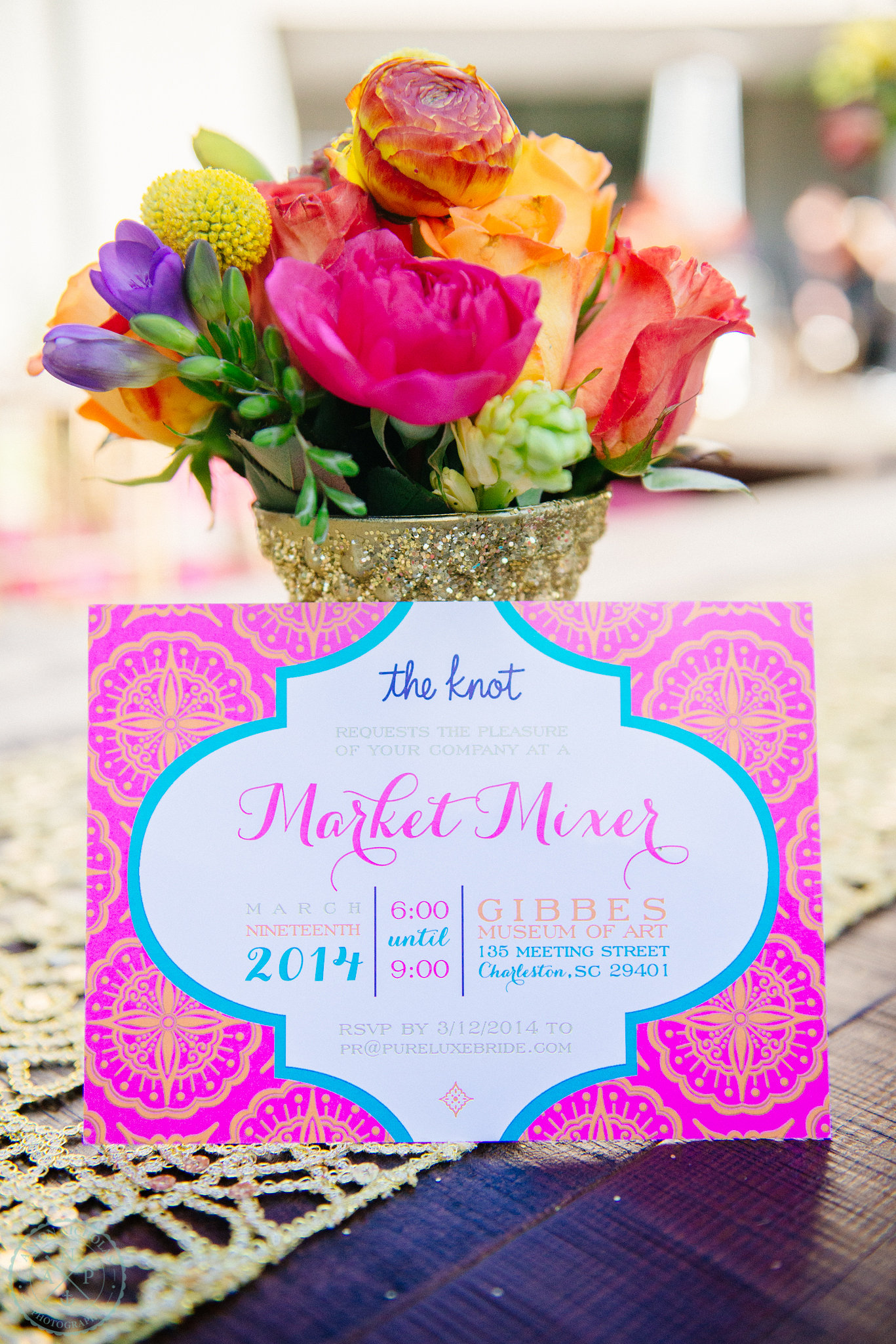the-knot-Moroccan-inspiration-gold-wedding-vase-fuchsia-orange-turquoise