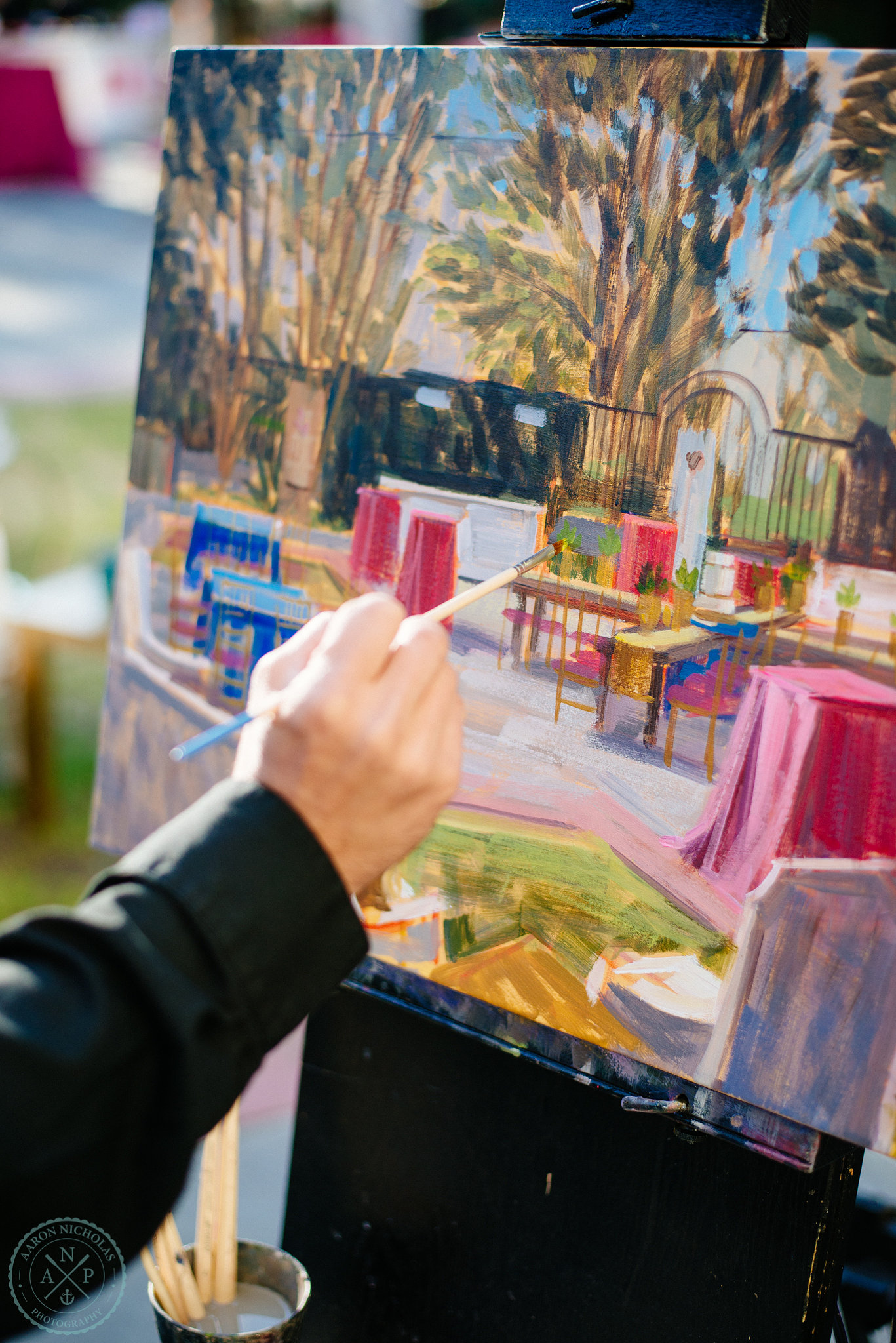 live-wedding-painting-by-ben-keys-live-event-artist-of-wed-on-canvas-garden-wedding-gibbes-museum-pure-luxe-bride-for-the-knot