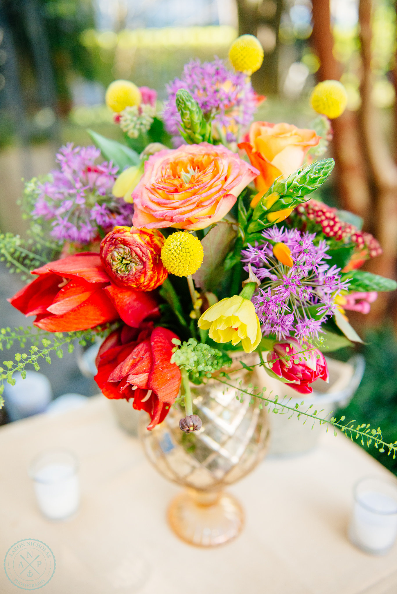 wildflowers-charleston-tulips-fuchsia-orange-pink-flowers-yellow-pom-poms-outdoor-garden-reception