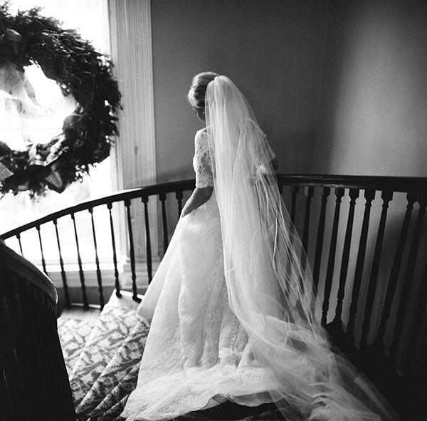 chapel-length-lace-veil-with-lace-ball-gown-monique-lhuillier