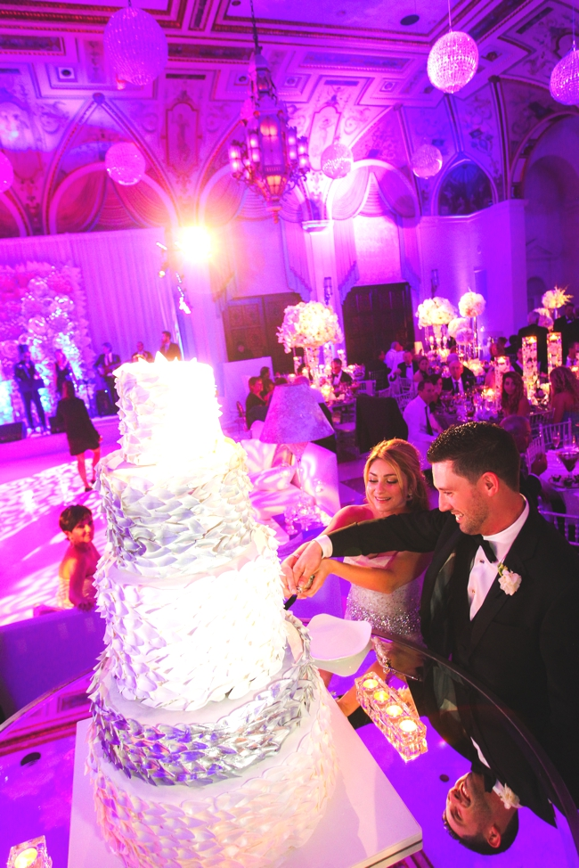 the-Mediterranean-ballroom-palm-beach-cake-cutting-and-the-hudson-band-wedding-painting