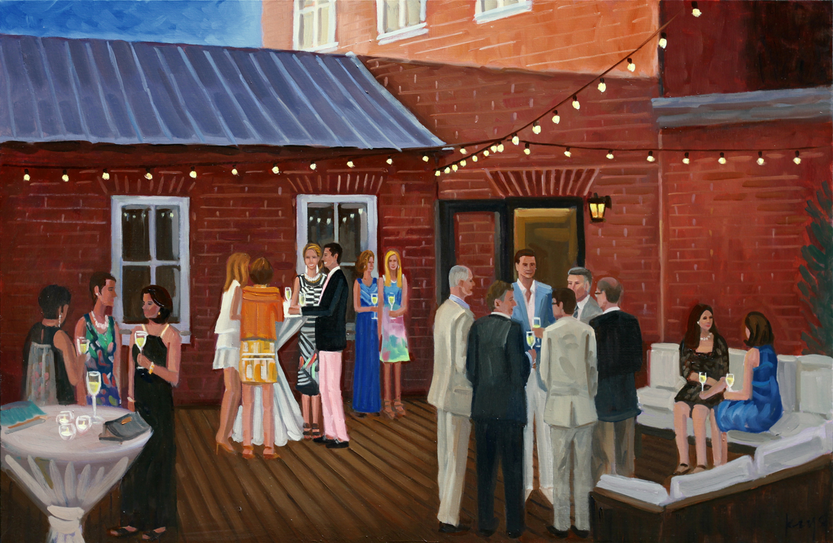 Amanda's 40th Birthday Party | 24 x 36 in. | Oil on Canvas | Live Event Painting