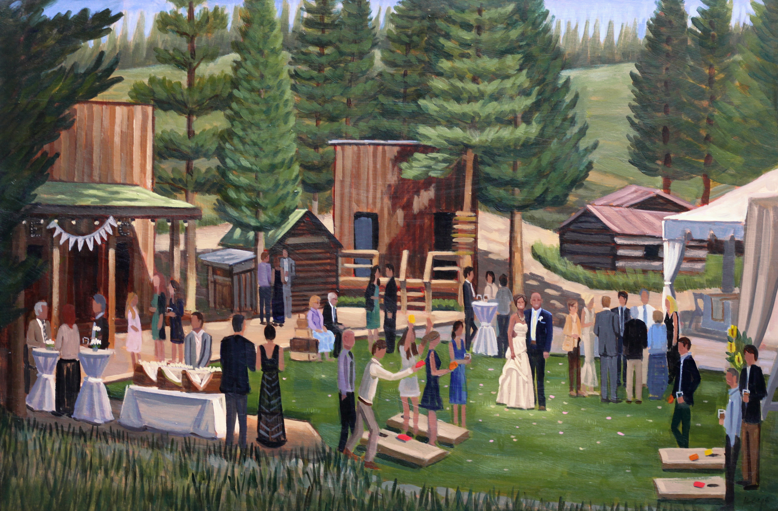 Chris and Erin | 24 x 36 in. | Live Wedding Painting