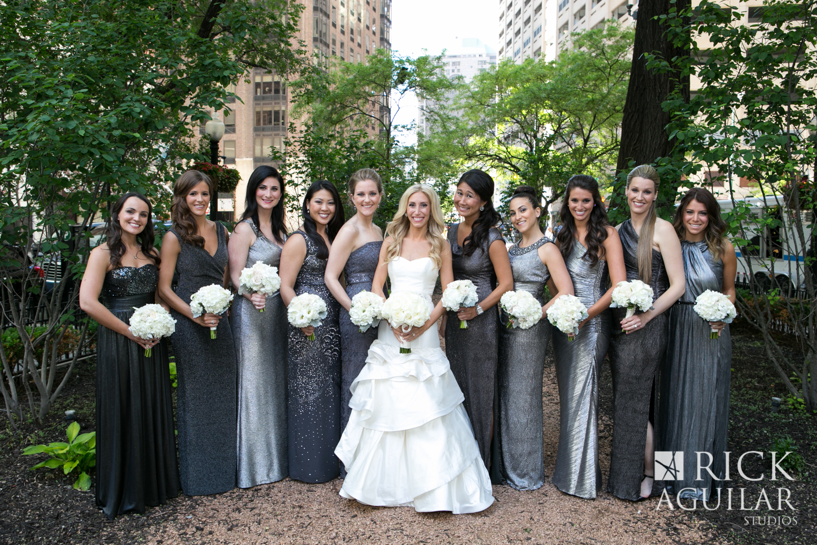 chicago-bridesmaids-wearing-glitter-gowns-modern-wedding-artist-ben-keys-of-wed-on-canvas