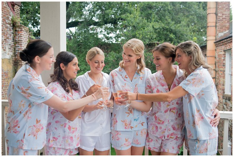 bridal-party-in-matching-floral-pajamas-charleston-wedding-hibernian-hall-french-church
