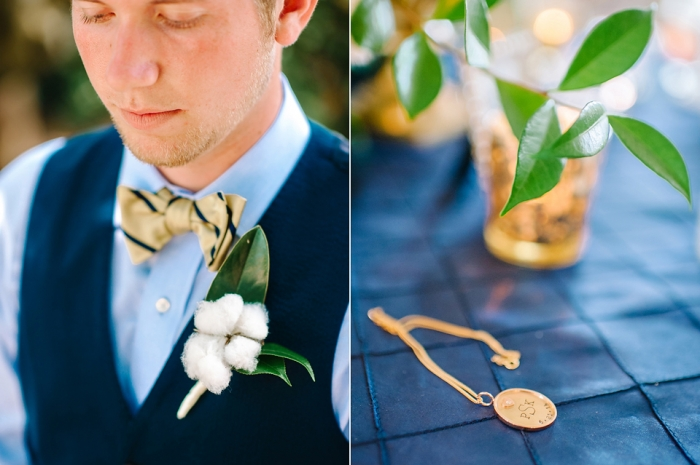 cotton-boutenier-and-gold-navy-bow-tie-groom-groomsmen-style-wed-on-canvas-live-wedding-painter
