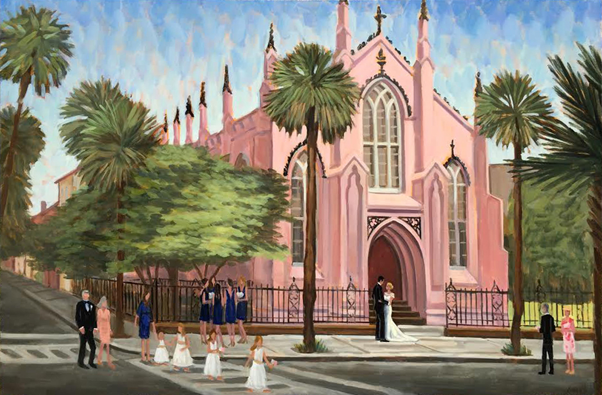 Live wedding painter captures bride and groom as they exit Charleston's French Huguenot Church after their ceremony.