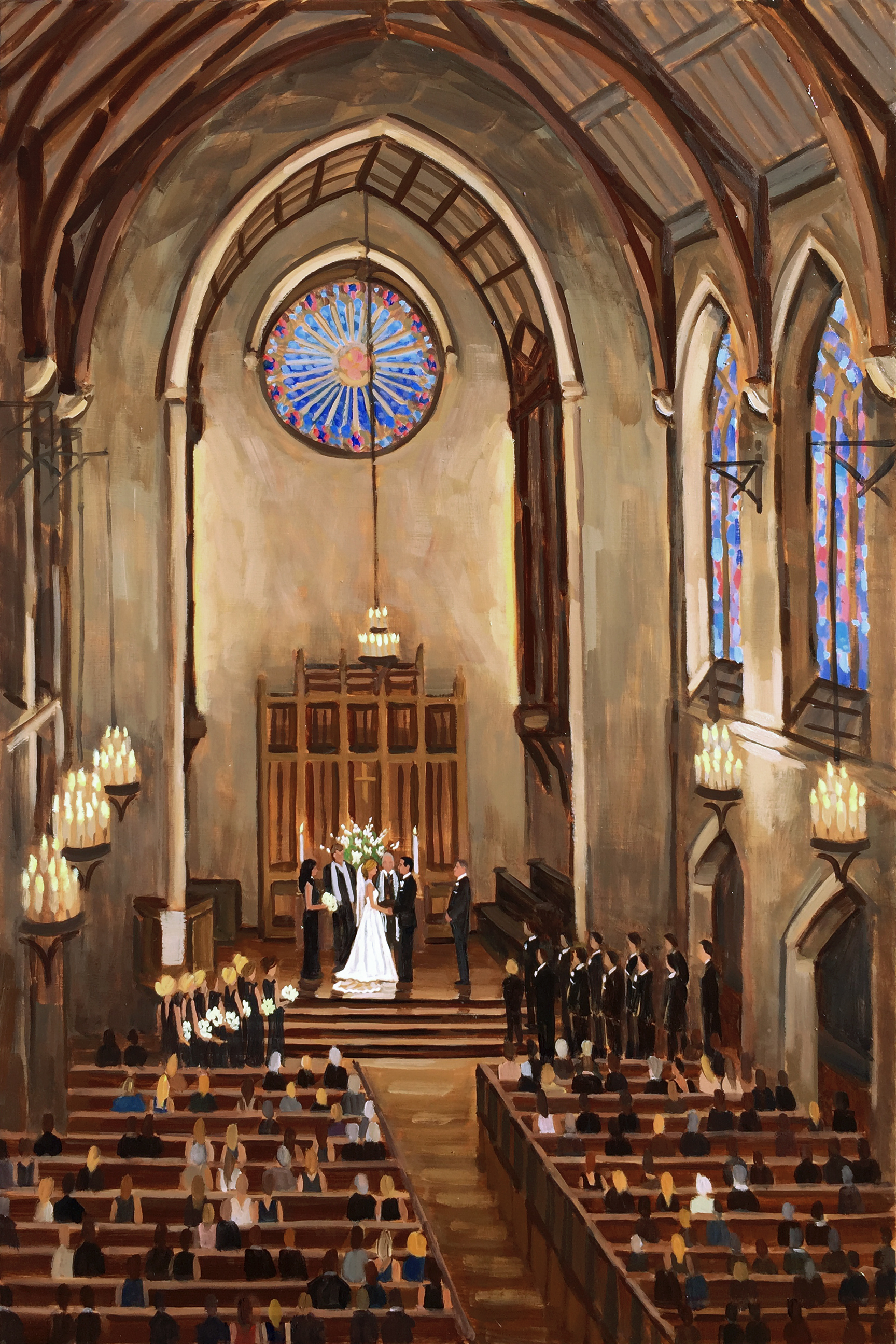 Sarah and Will | 36 x 24 in. Live Wedding Painting