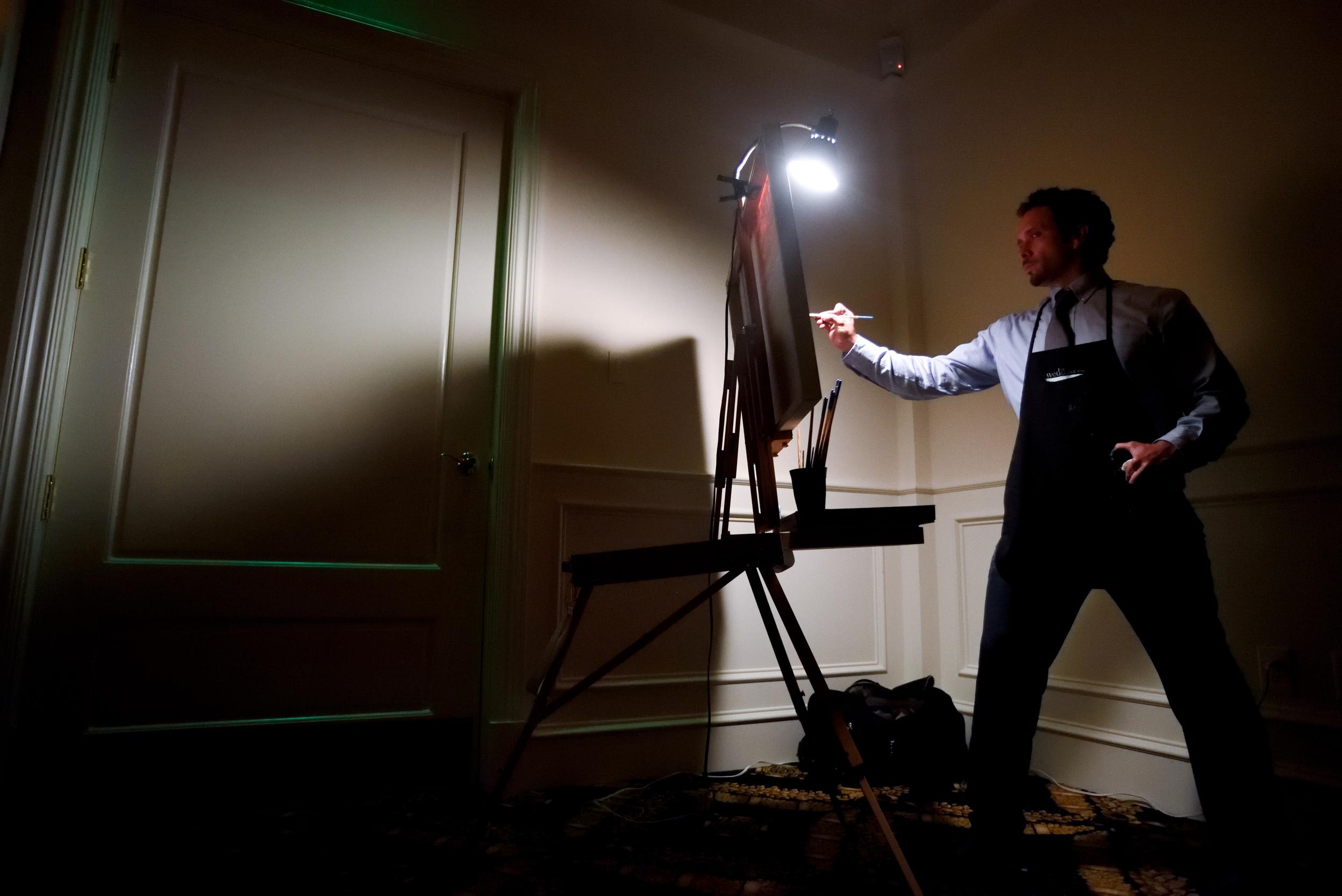 wedding-artist-ben-keys-painting-live-wed-on-canvas-charlotte-trump-national-golf-club-wedding