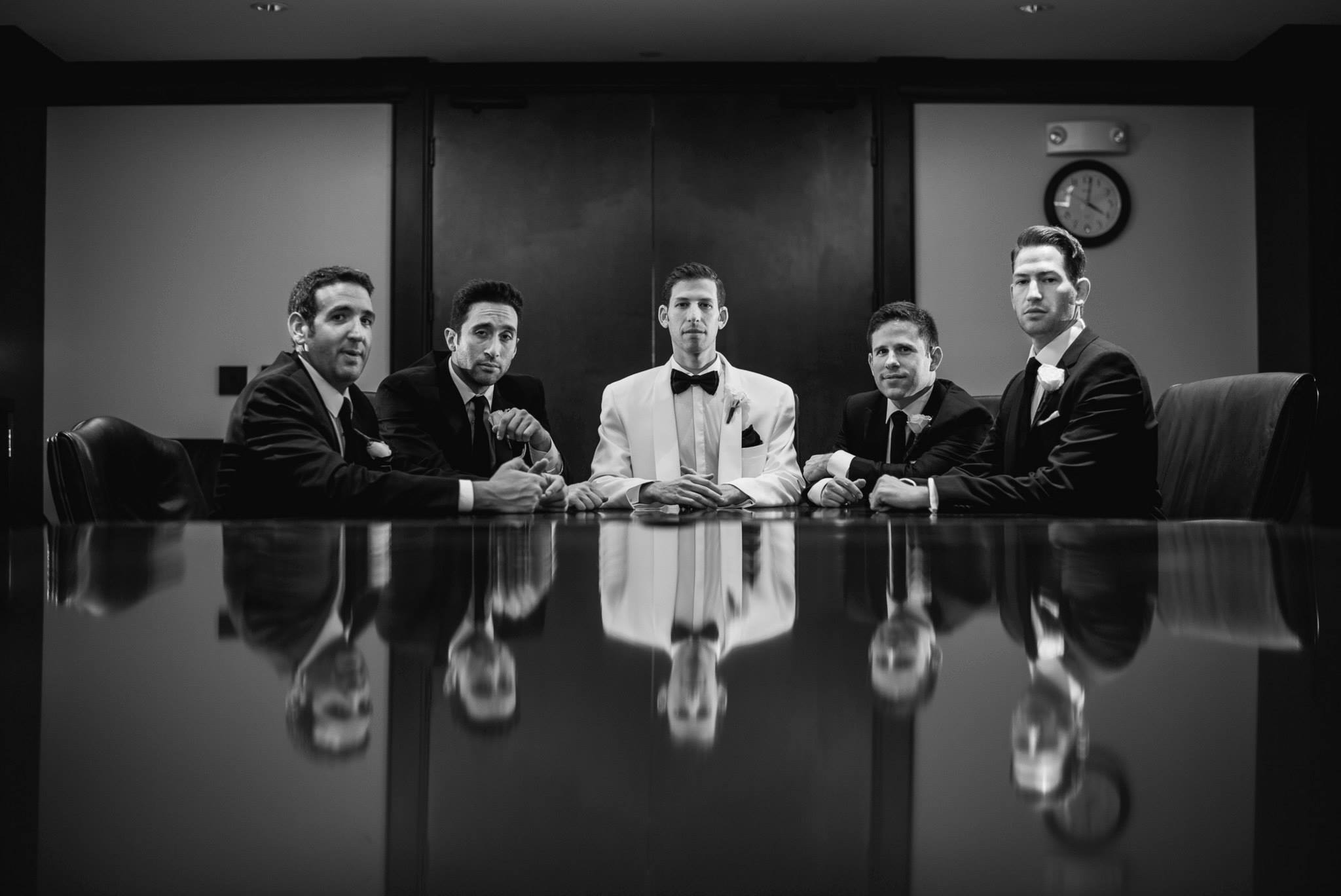 funny-groomsmen-photo-getting-ready-lawyers-at-board-meeting-pose-boca-raton-wedding