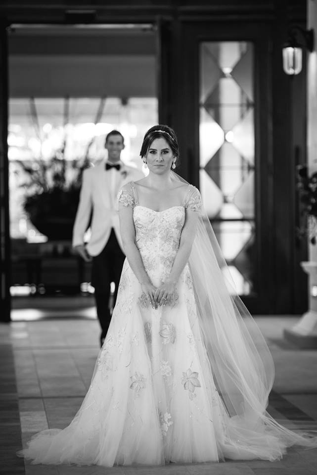 first-look-photo-boca-raton-the-polo-club-wedding-monique-lhuillier-esme-gown-chic-parisian